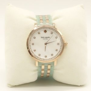 NWT KATE SPADE Monterey Watch Mint Green Gold Band